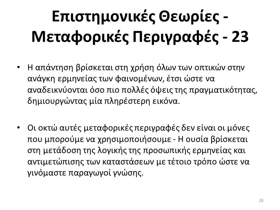 Επιστημονικές Θεωρίες - Μεταφορικές Περιγραφές - 23
