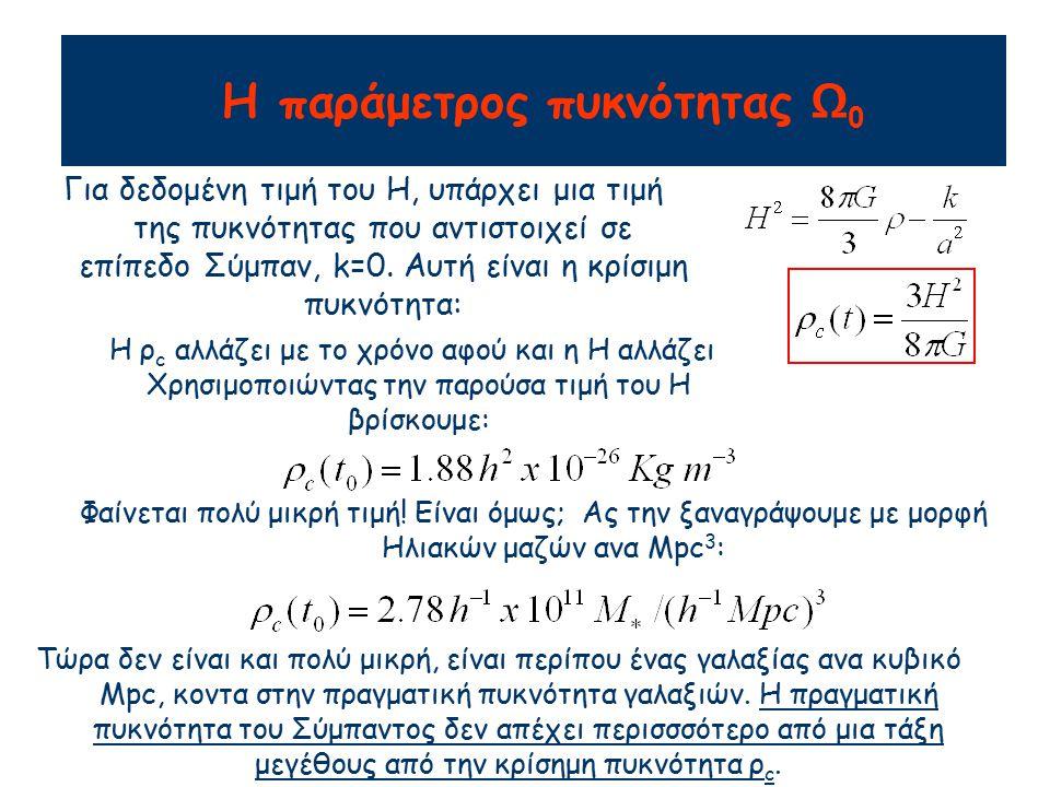 Η παράμετρος πυκνότητας Ω0