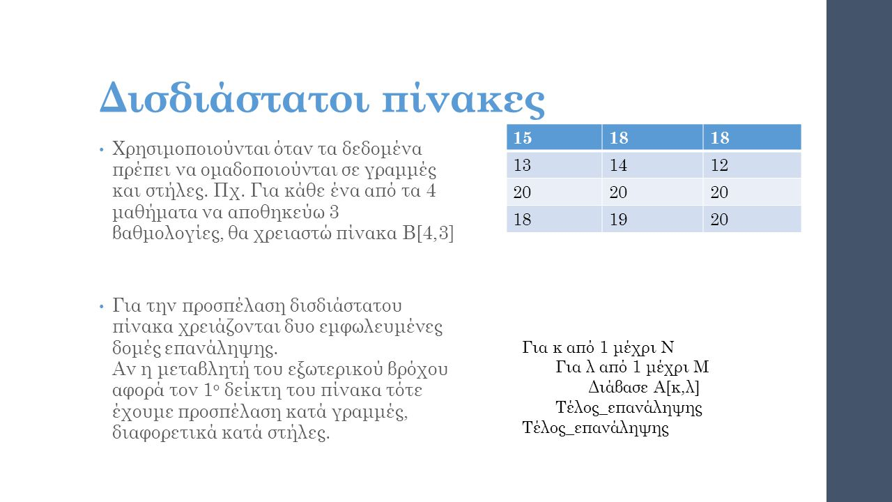 Δισδιάστατοι πίνακες 15. 18. 13. 14. 12. 20. 19.