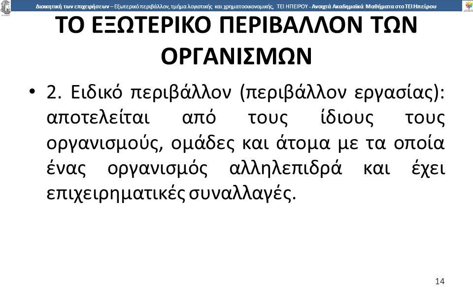 ΤΟ ΕΞΩΤΕΡΙΚΟ ΠΕΡΙΒΑΛΛΟΝ ΤΩΝ ΟΡΓΑΝΙΣΜΩΝ