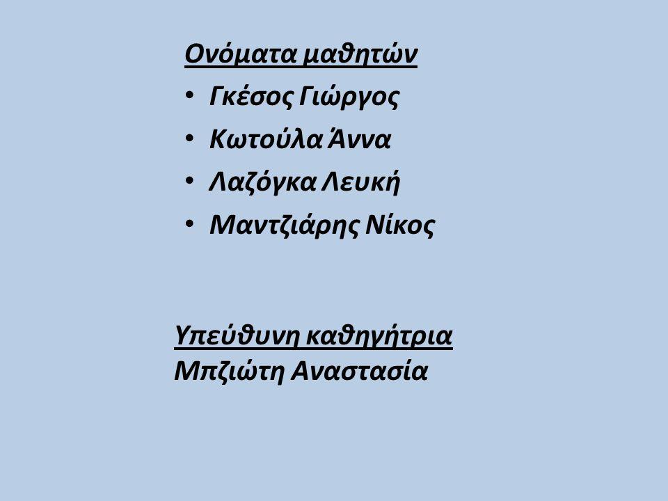 Ονόματα μαθητών Γκέσος Γιώργος. Κωτούλα Άννα. Λαζόγκα Λευκή. Μαντζιάρης Νίκος. Υπεύθυνη καθηγήτρια.