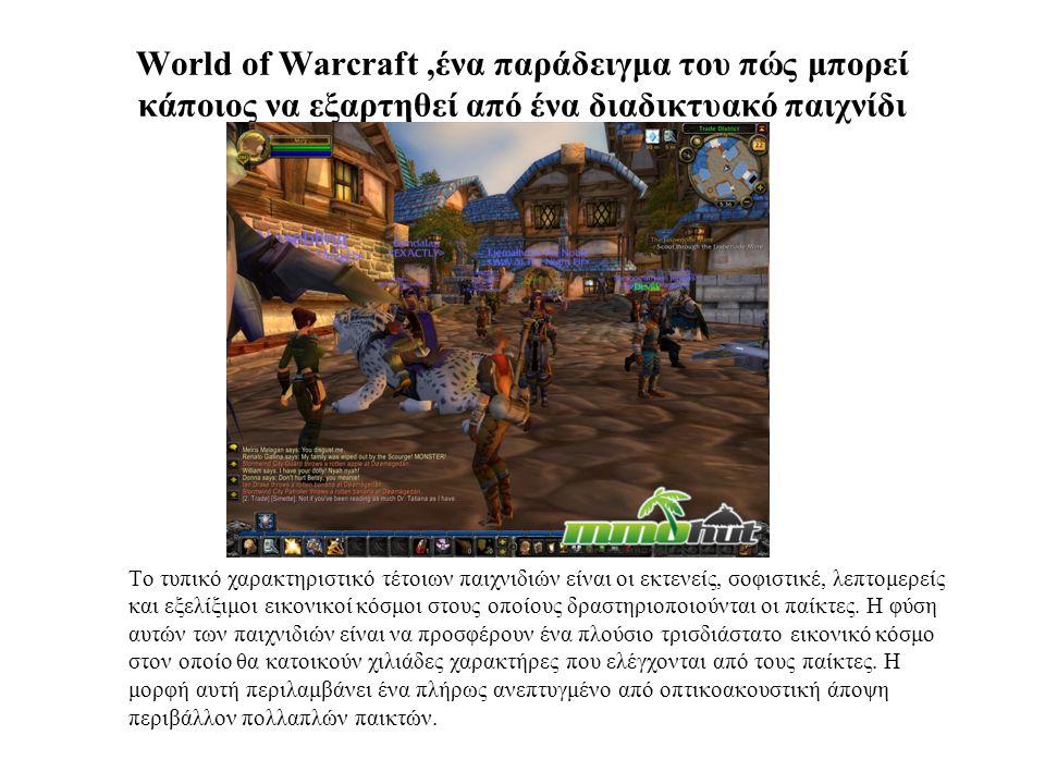 World of Warcraft ,ένα παράδειγμα του πώς μπορεί κάποιος να εξαρτηθεί από ένα διαδικτυακό παιχνίδι