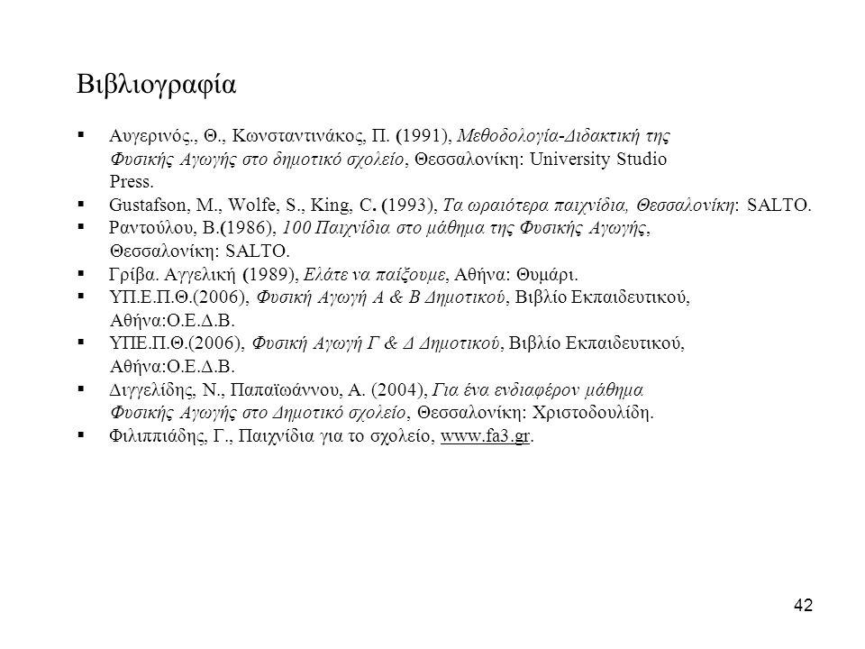 Βιβλιογραφία Αυγερινός., Θ., Κωνσταντινάκος, Π. (1991), Μεθοδολογία-Διδακτική της.