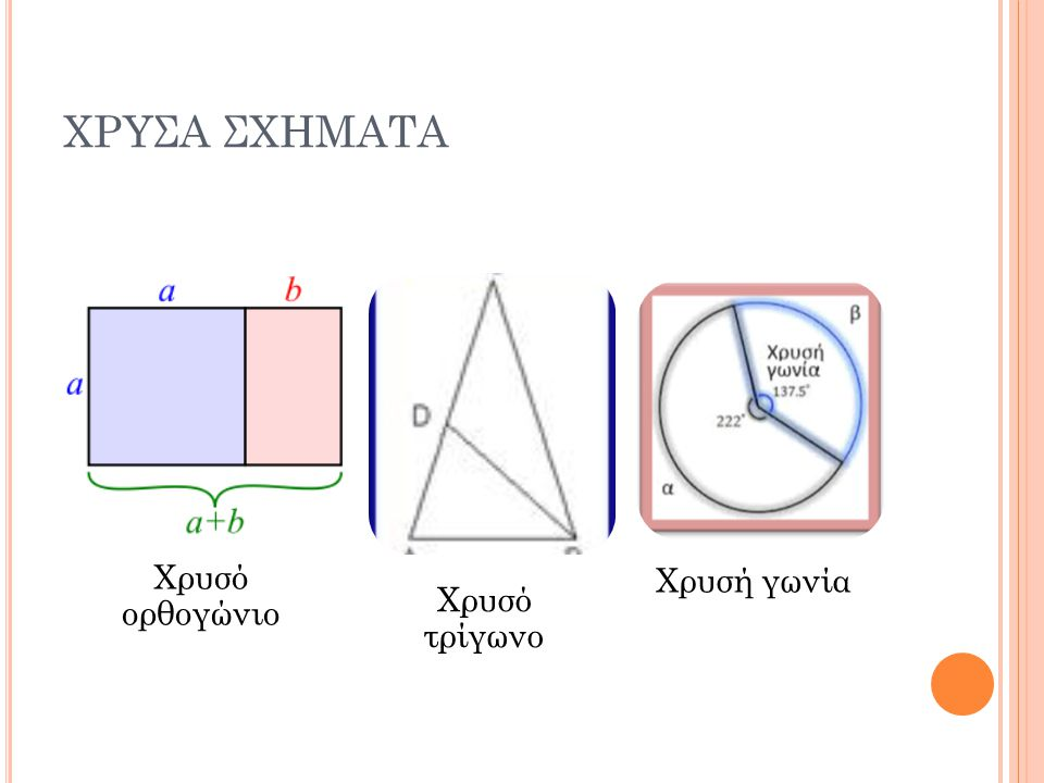 ΧΡΥΣΑ ΣΧΗΜΑΤΑ Χρυσό ορθογώνιο Χρυσό τρίγωνο Χρυσή γωνία