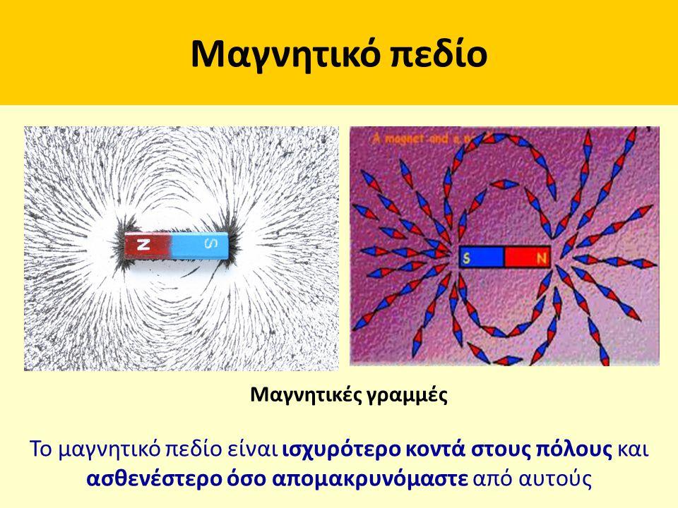 Μαγνητικό πεδίο Μαγνητικές γραμμές. Το μαγνητικό πεδίο είναι ισχυρότερο κοντά στους πόλους και.