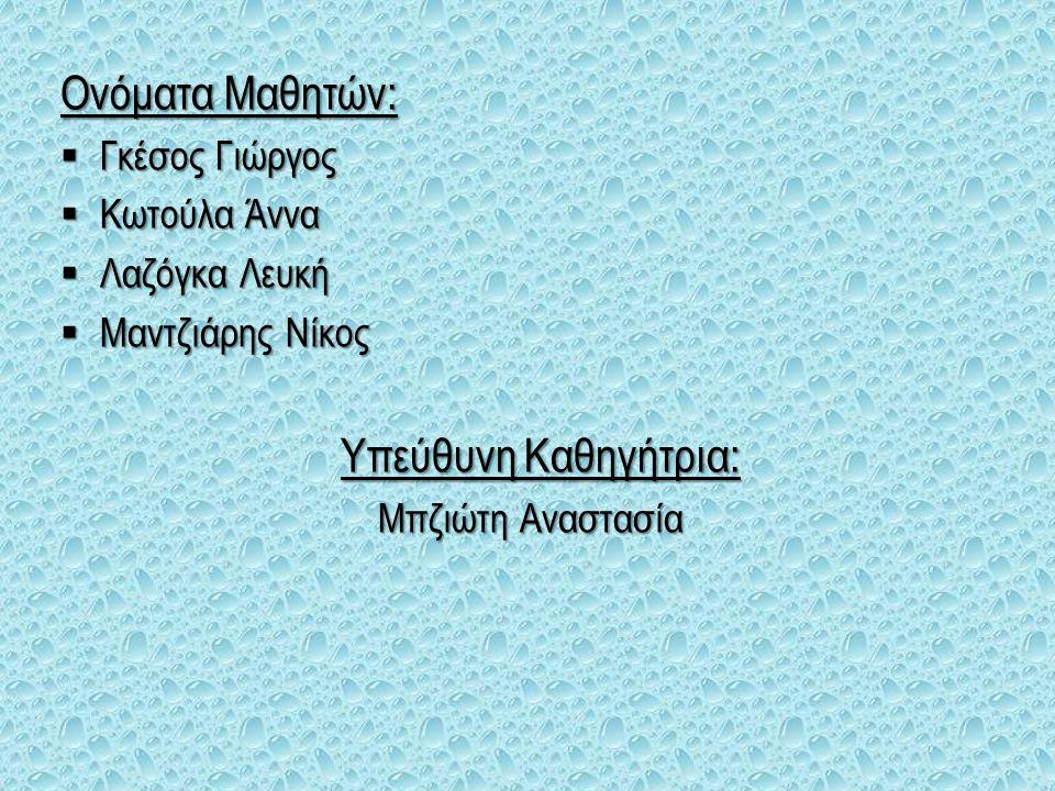 Ονόματα Μαθητών: Γκέσος Γιώργος Κωτούλα Άννα Λαζόγκα Λευκή