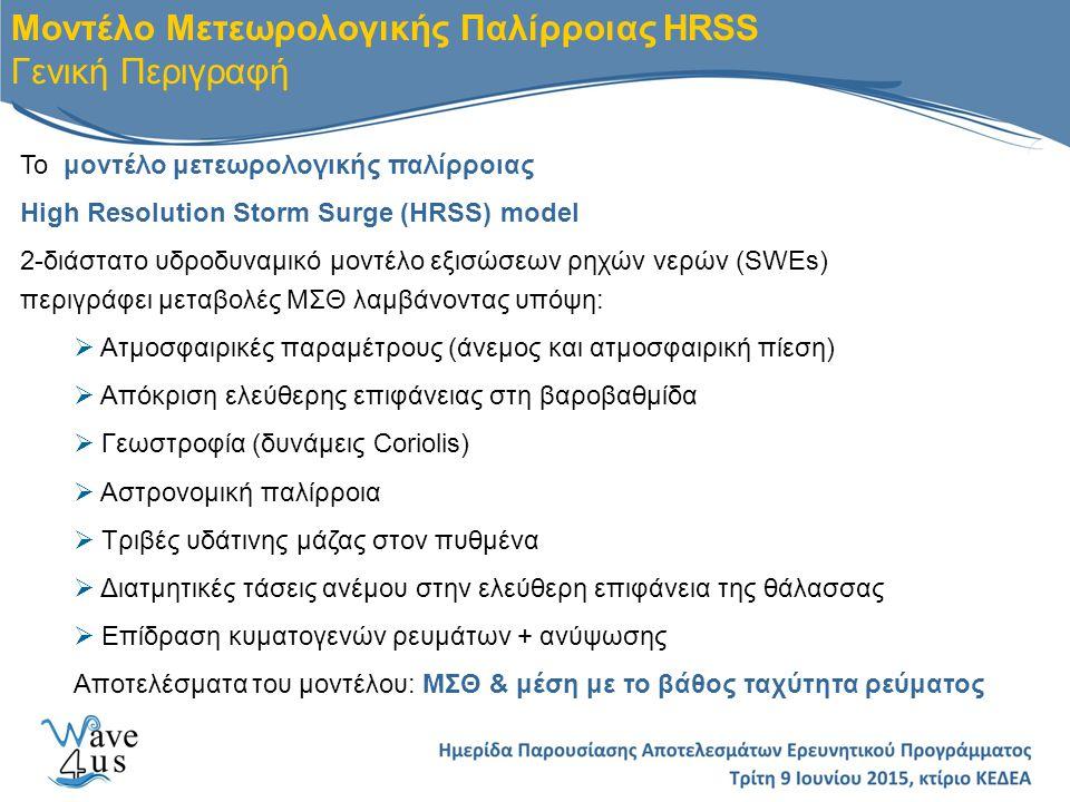 Μοντέλο Μετεωρολογικής Παλίρροιας HRSS Γενική Περιγραφή