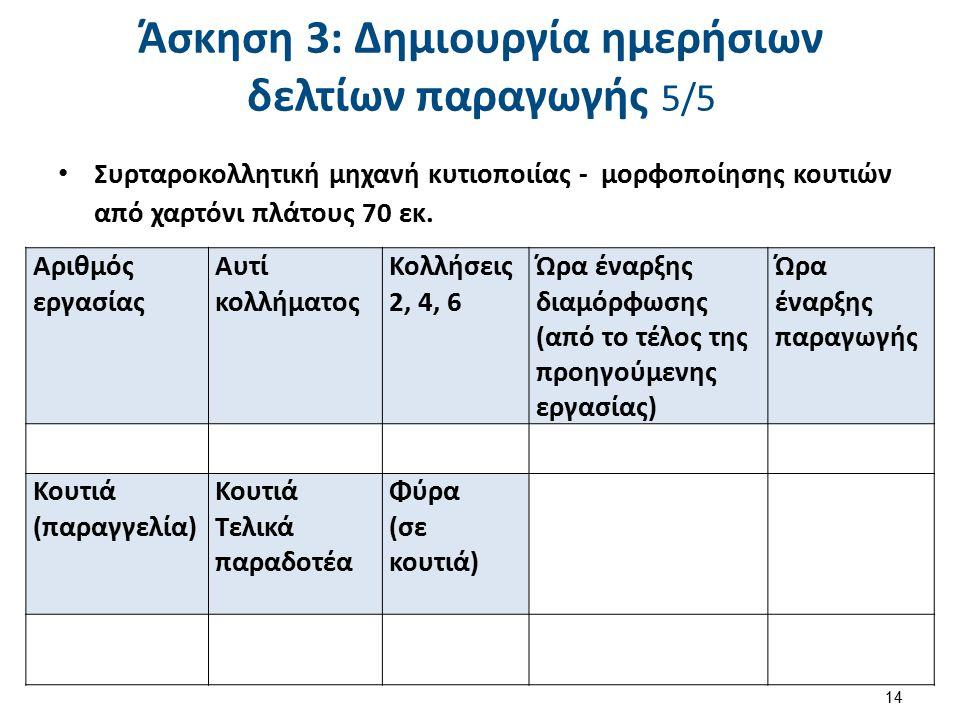 Άσκηση 4: Υπολογισμός του ολικού χρόνου παραγωγής 1/2