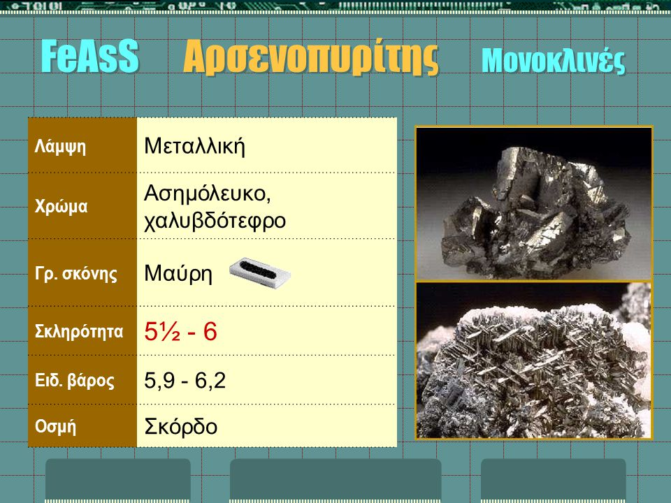 FeAsS Αρσενοπυρίτης Μονοκλινές