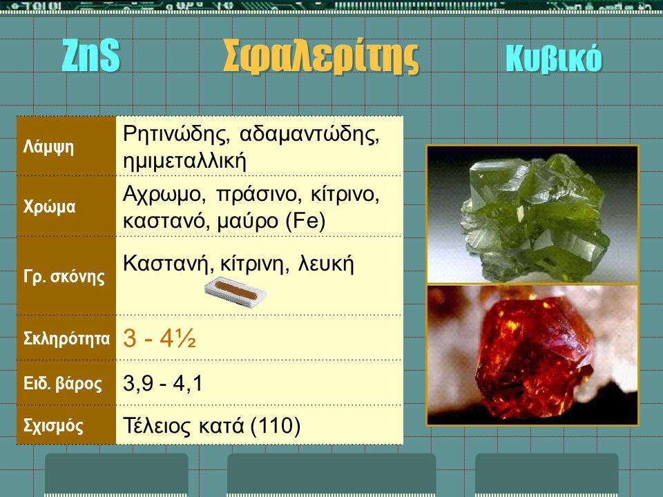 ZnS Σφαλερίτης Κυβικό 3 - 4½ Ρητινώδης, αδαμαντώδης, ημιμεταλλική