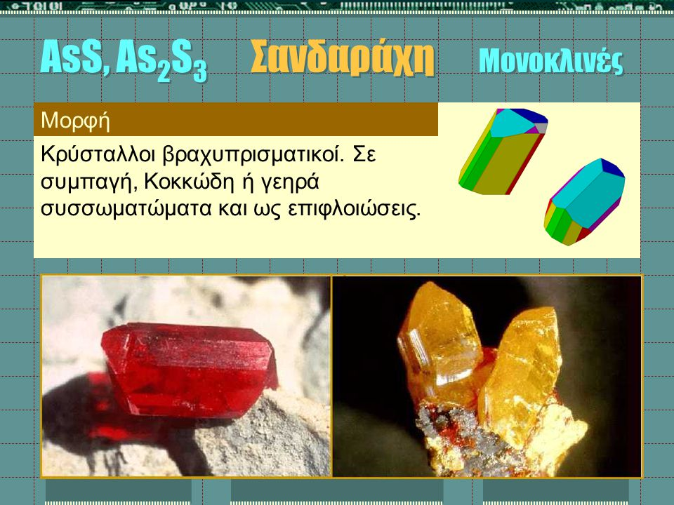 AsS, As2S3 Σανδαράχη Μονοκλινές