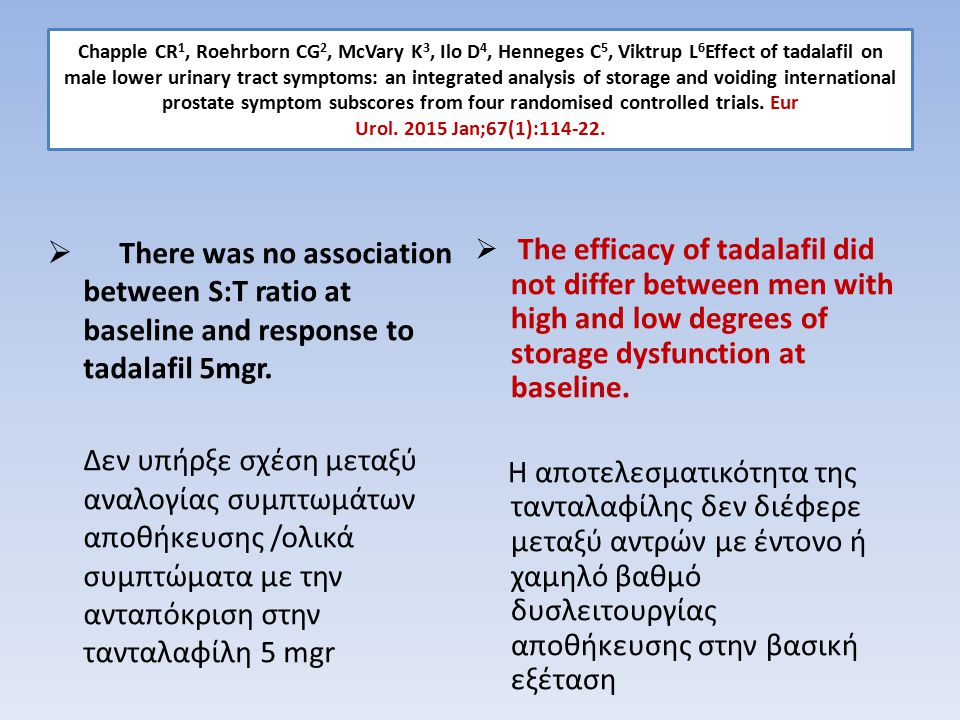 Chapple CR1, Roehrborn CG2, McVary K3, Ilo D4, Henneges C5, Viktrup L6Effect of tadalafil on male lower urinary tract symptoms: an integrated analysis of storage and voiding international prostate symptom subscores from four randomised controlled trials. Eur Urol. 2015 Jan;67(1):114-22.