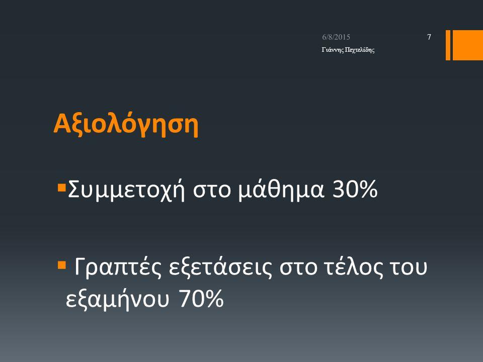 Αξιολόγηση Συμμετοχή στο μάθημα 30%
