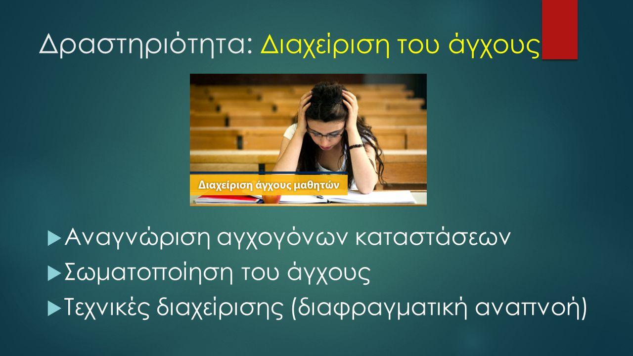 Δραστηριότητα: Διαχείριση του άγχους