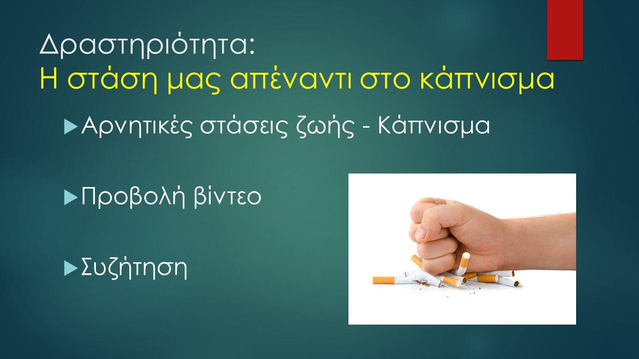 Δραστηριότητα: Η στάση μας απέναντι στο κάπνισμα