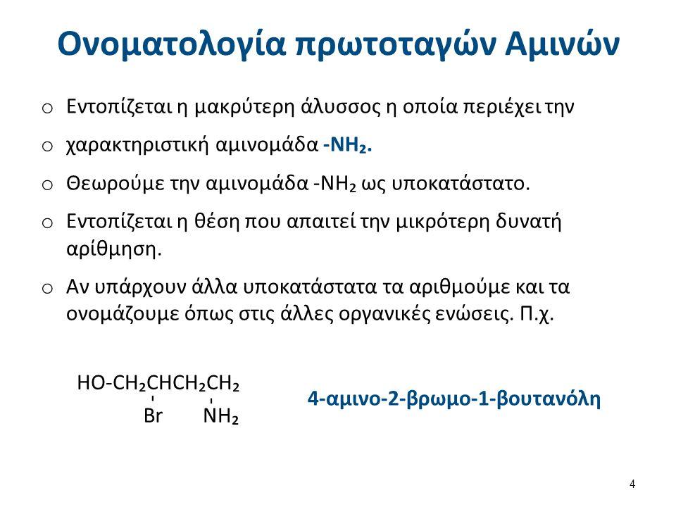 Παραδείγματα (1 από 3) CH₃CH₂CH₂NH₂ 1-Αμινοπροπάνιο. NH₂ -