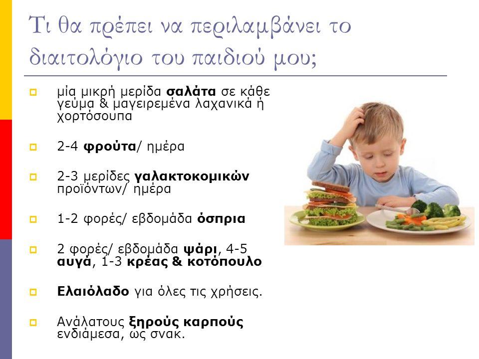 Τι θα πρέπει να περιλαμβάνει το διαιτολόγιο του παιδιού μου;