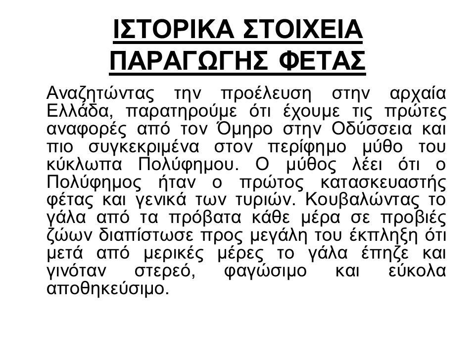 ΙΣΤΟΡΙΚΑ ΣΤΟΙΧΕΙΑ ΠΑΡΑΓΩΓΗΣ ΦΕΤΑΣ