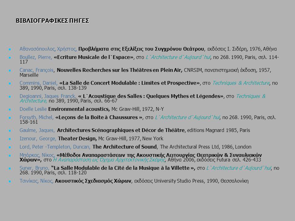 ΒΙΒΛΙΟΓΡΑΦΙΚΕΣ ΠΗΓΕΣ Αθανασόπουλος, Χρήστος, Προβλήματα στις Εξελίξεις του Συγχρόνου Θεάτρου, εκδόσεις Ι. Σιδέρη, 1976, Αθήνα.