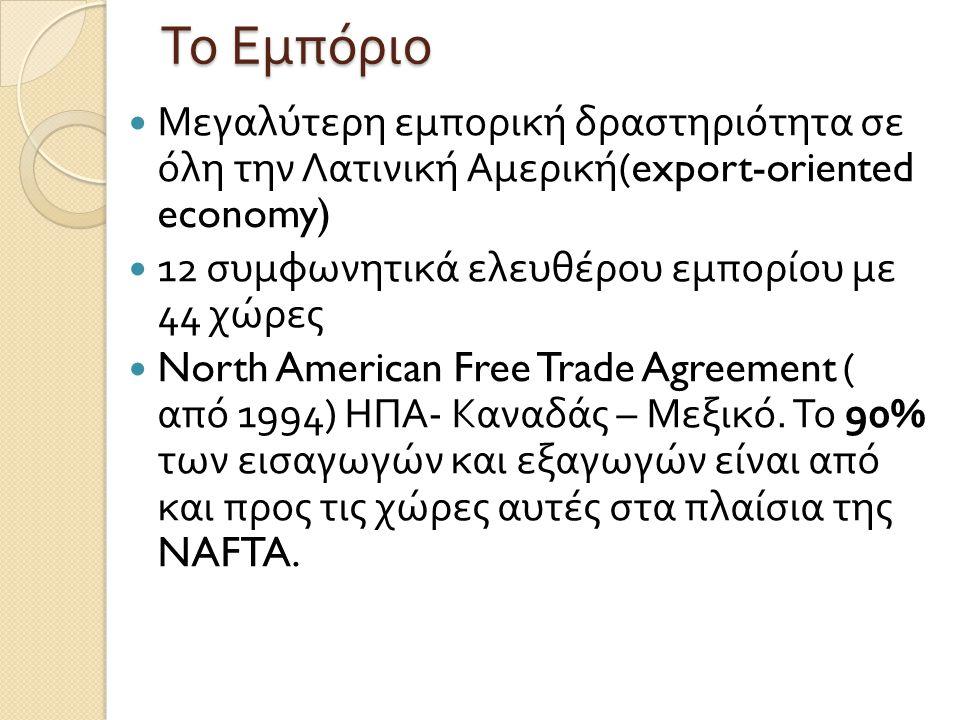 Το Εμπόριο Μεγαλύτερη εμπορική δραστηριότητα σε όλη την Λατινική Αμερική(export-oriented economy)