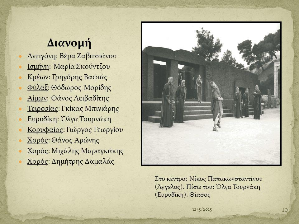 Διανομή Αντιγόνη: Βέρα Ζαβιτσιάνου Ισμήνη: Μαρία Σκούντζου