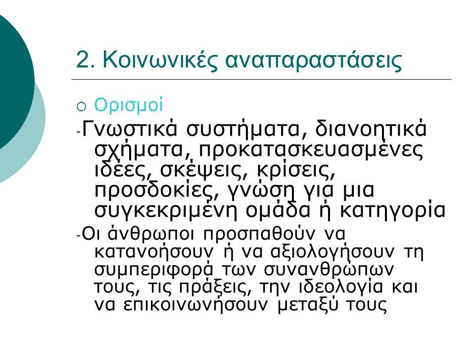 2. Κοινωνικές αναπαραστάσεις