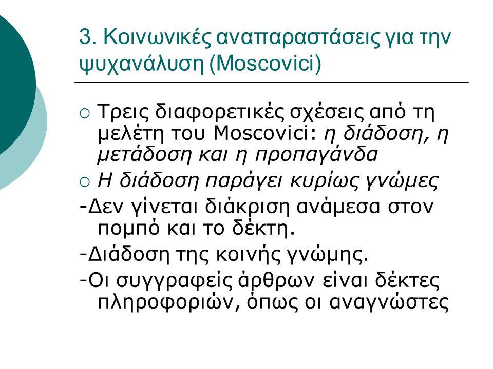 3. Κοινωνικές αναπαραστάσεις για την ψυχανάλυση (Moscovici)