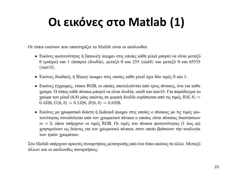 Οι εικόνες στο Matlab (1)