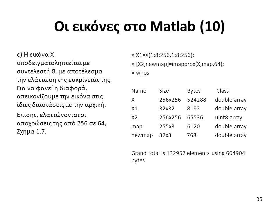 Οι εικόνες στο Matlab (10)