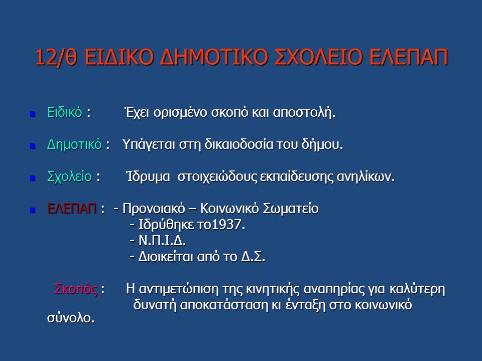 12/θ ΕΙΔΙΚΟ ΔΗΜΟΤΙΚΟ ΣΧΟΛΕΙΟ ΕΛΕΠΑΠ