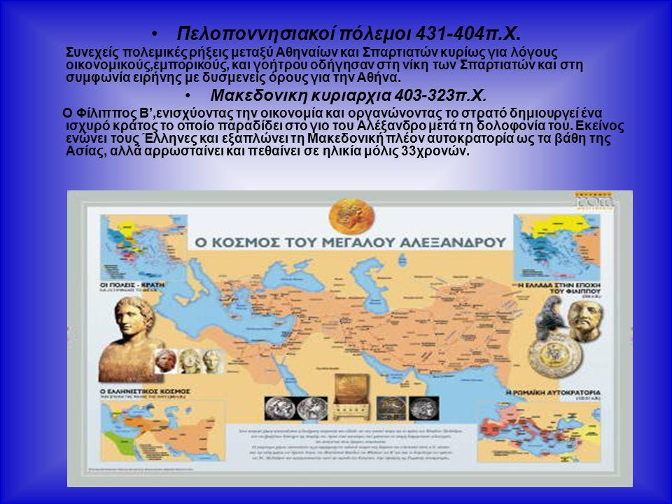 Πελοποννησιακοί πόλεμοι 431-404π.Χ. Μακεδονικη κυριαρχια 403-323π.Χ.