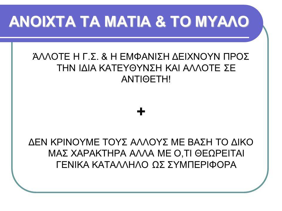 ΑΝΟΙΧΤΑ ΤΑ ΜΑΤΙΑ & ΤΟ ΜΥΑΛΟ