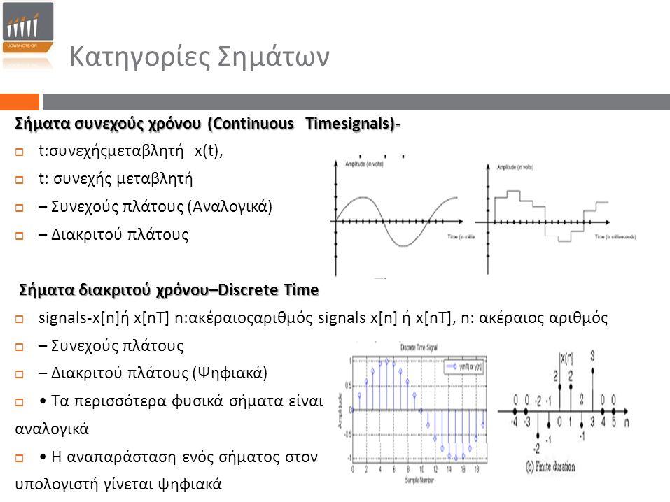 Κατηγορίες Σημάτων Σήματα συνεχούς χρόνου (Continuous Timesignals)‐