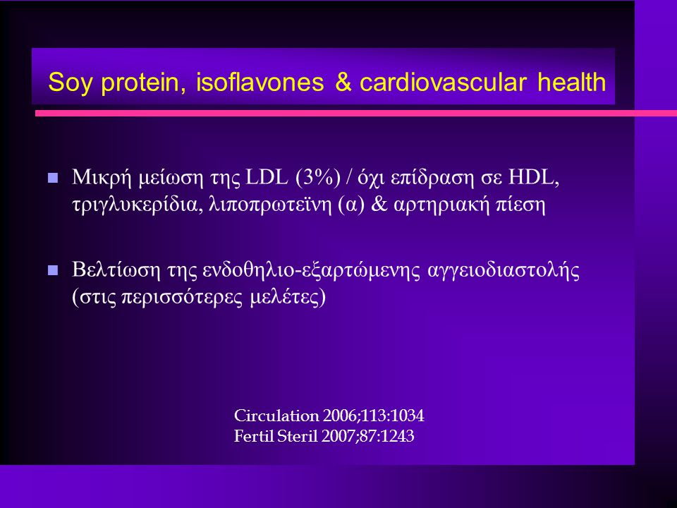 Soy protein, isoflavones & cardiovascular health