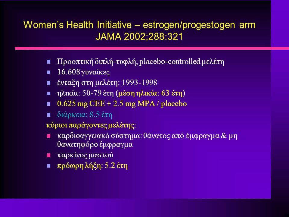 Women's Health Initiative – estrogen/progestogen arm JAMA 2002;288:321