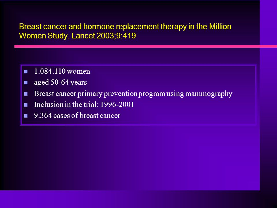 Breast cancer and hormone replacement therapy in the Million Women Study. Lancet 2003;9:419