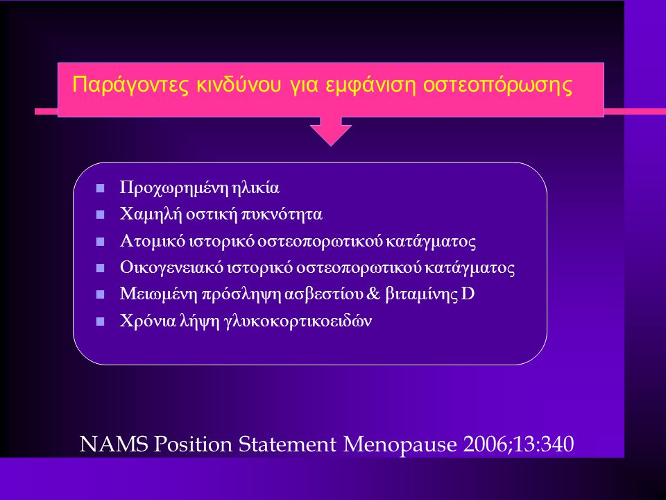 Παράγοντες κινδύνου για εμφάνιση οστεοπόρωσης