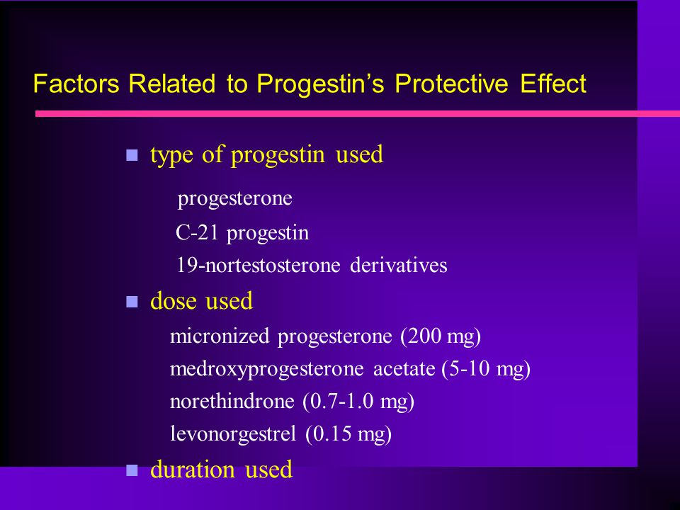 Factors Related to Progestin's Protective Effect