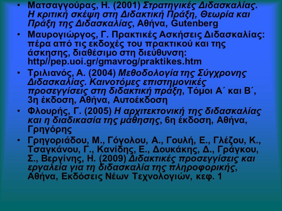 Ματσαγγούρας, Η. (2001) Στρατηγικές Διδασκαλίας