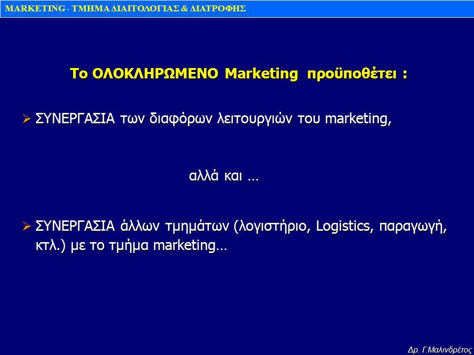 To ΟΛΟΚΛΗΡΩΜΕΝΟ Marketing προϋποθέτει :