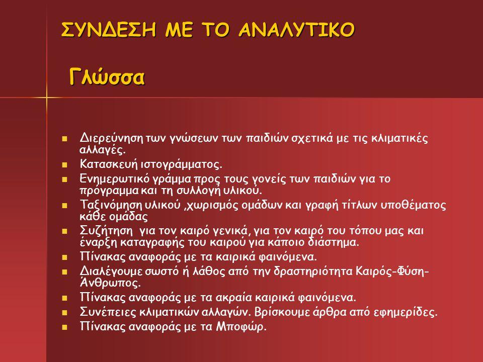 ΣΥΝΔΕΣΗ ΜΕ ΤΟ ΑΝΑΛΥΤΙΚΟ Γλώσσα