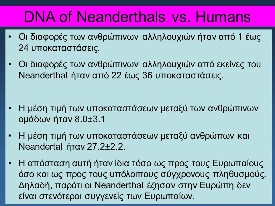 DNA of Neanderthals vs. Humans
