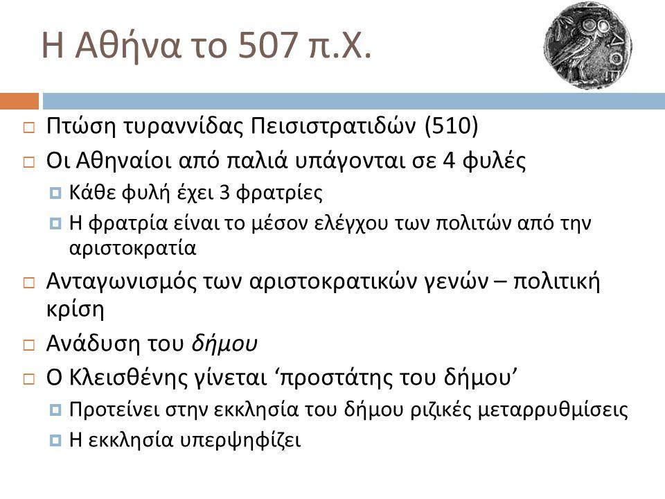 Η Αθήνα το 507 π.Χ. Πτώση τυραννίδας Πεισιστρατιδών (510)
