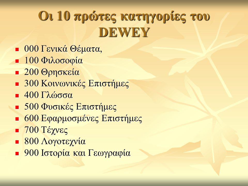 Οι 10 πρώτες κατηγορίες του DEWEY