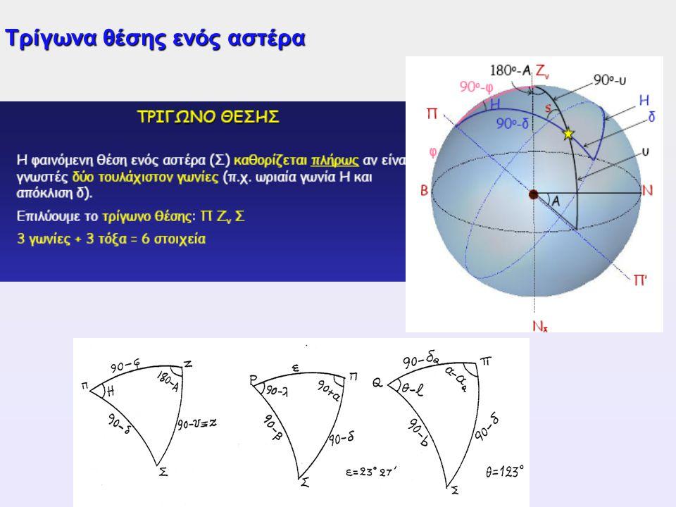 Τρίγωνα θέσης ενός αστέρα