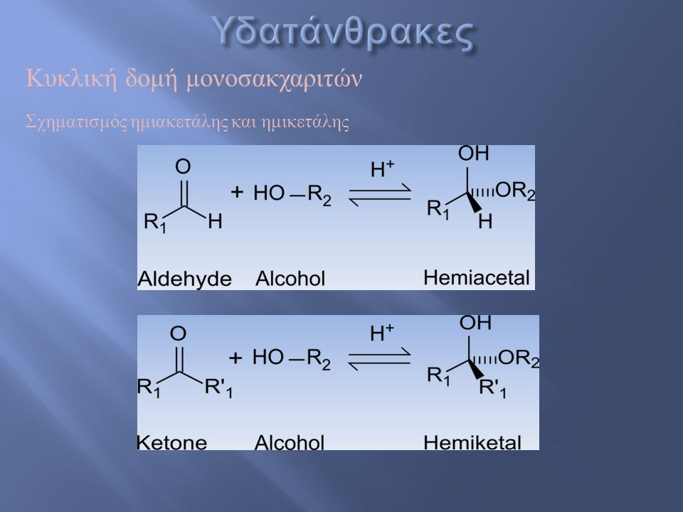 Υδατάνθρακες Κυκλική δομή μονοσακχαριτών