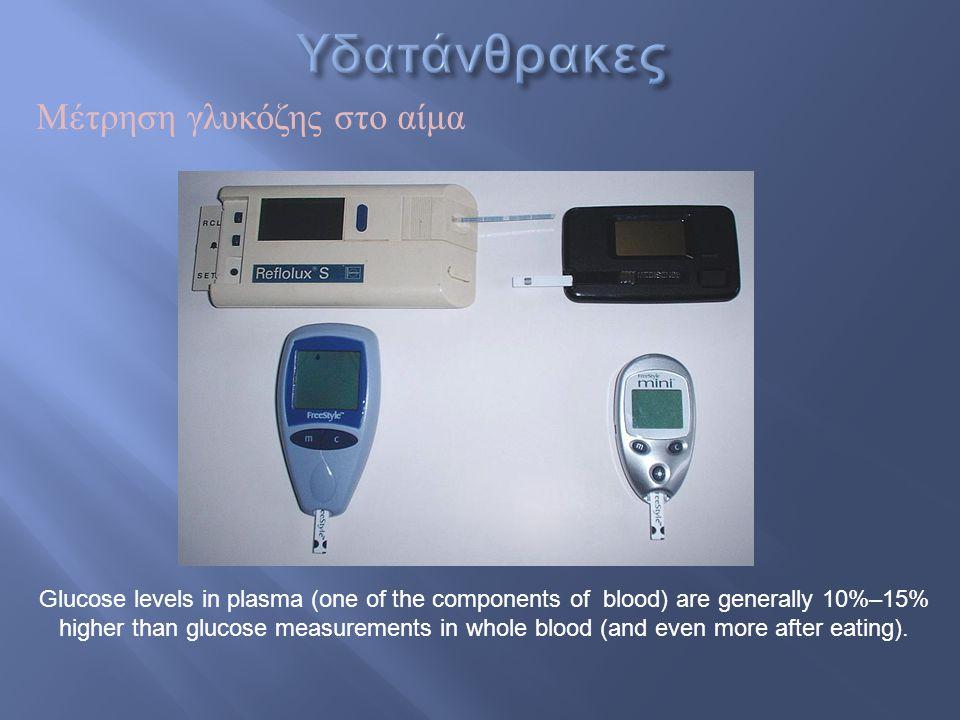 Υδατάνθρακες Μέτρηση γλυκόζης στο αίμα