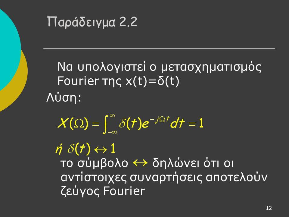 Παράδειγμα 2.2 Να υπολογιστεί ο μετασχηματισμός Fourier της x(t)=δ(t)