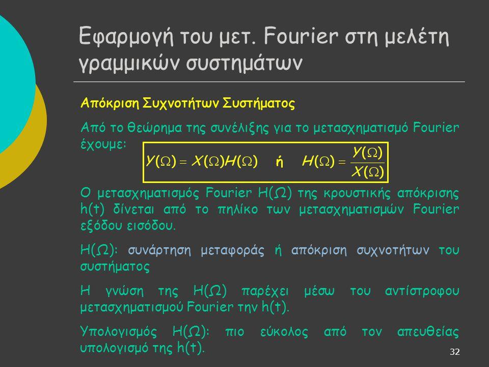 Εφαρμογή του μετ. Fourier στη μελέτη γραμμικών συστημάτων