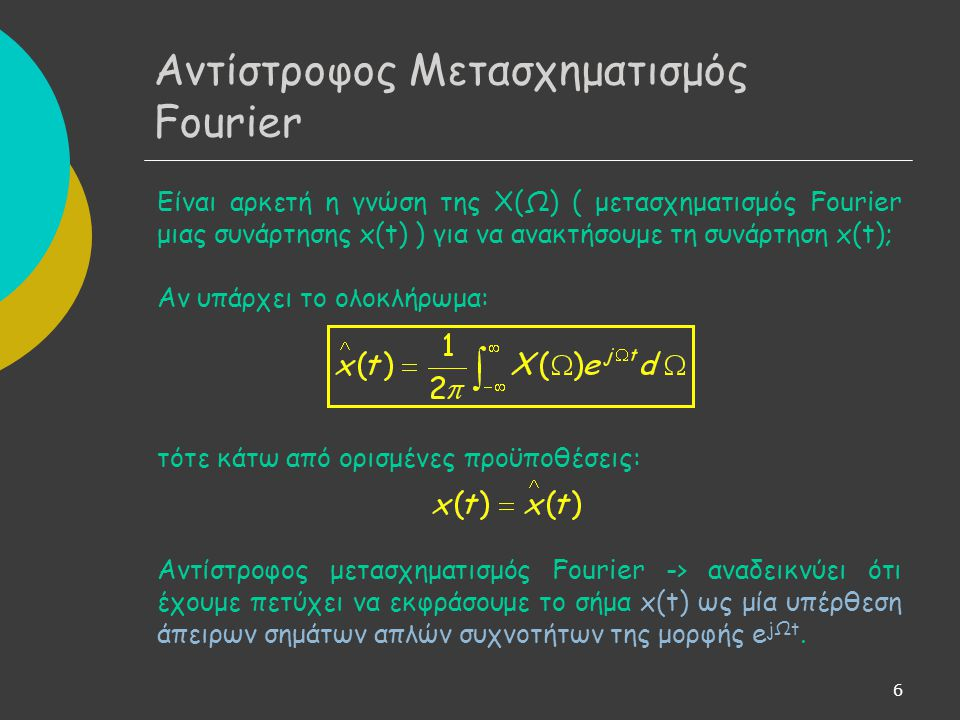 Αντίστροφος Μετασχηματισμός Fourier